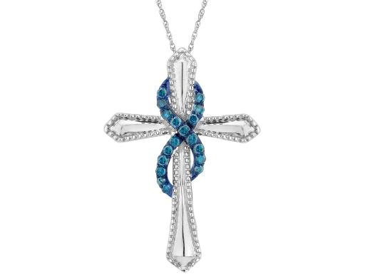 Large Blue Diamond Infinite Faith Cross Pendant Necklace 1/4 Carat (ctw) in Sterling Silver with Chain