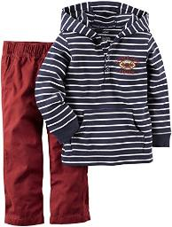 Carter's Baby Boys' 2 Piece Striped Top Set (229g011), Blue/White, 6 Months