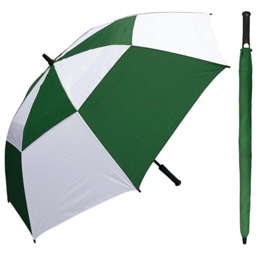 RainStoppers W030GRW 60 in. Auto Open Green & White Wind Buster Golf Umbrella with Golf Grip Handle, 6 Piece