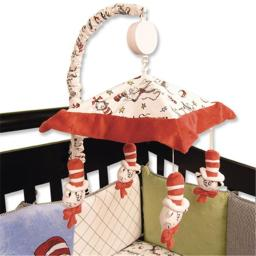 Trend Lab 30043 Mobile- Cat In The Hat Scatterprint And Stars Velour