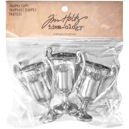 "Idea-Ology Plastic Trophy Cups 2.5""X1.25"" 3/Pkg-Shiny Silver TH93217"