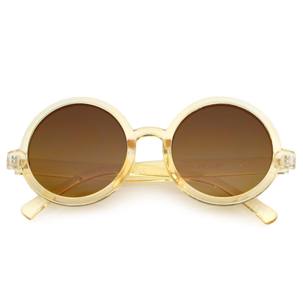 fc8e5676d Classic Retro Horn Rimmed Neutral-Colored Lens Round Sunglasses 52mm