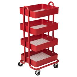 Ecr4kids l p 4-tier utility rolling cart red 20702rd