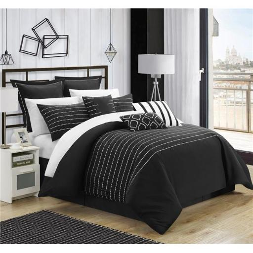 Chic Home CS3952-BIB-US 13 Piece Paddington Super Rich Microfiber Stitch Embroidered King Comforter Set, Black with Sheet Set