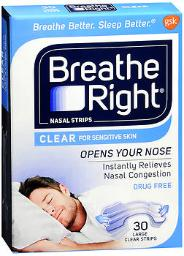 Breathe Right Nasal Strips Clear For Sensitive Skin Large - 30 Strips, Pack Of 4