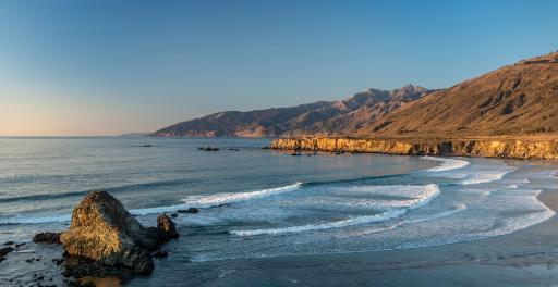 Scenic view of Sand Dollar Beach, Plaskett Creek, Big Sur, California, USA Poster Print by Panoramic Images (24 x 12)
