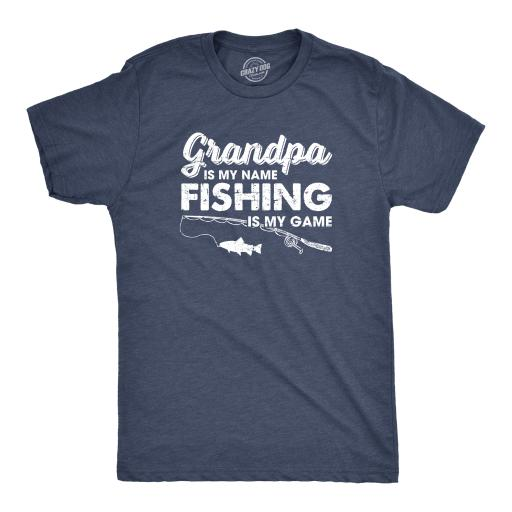 Mens Grandpa Is My Name Fishing Is My Game Tshirt Funny Fathers Day Tee