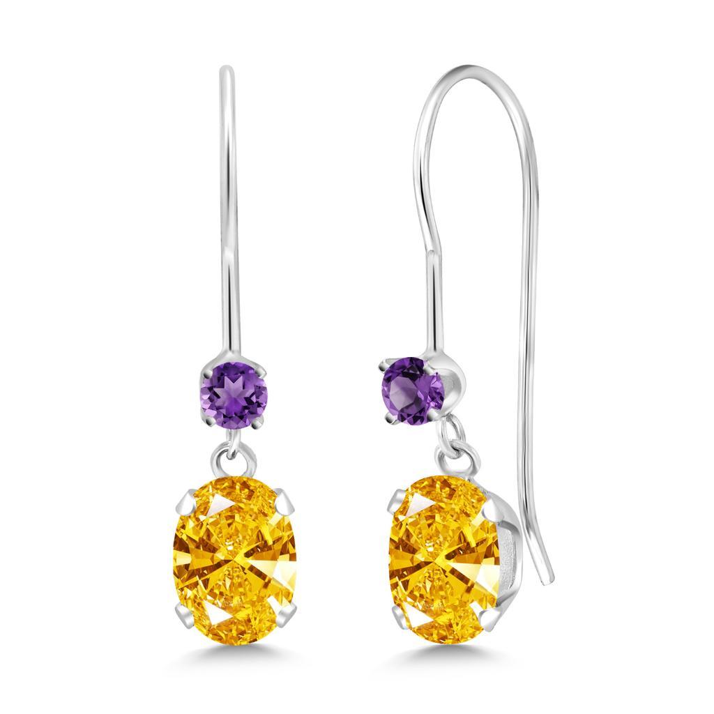 14K White Gold Earrings Amethyst & Set w- Golden Yellow Zirconia from Swarovski