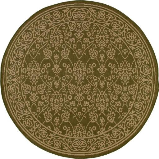 7 ft. Plymouth Collection Cosmic Flat Woven Indoor & Outdoor Round Area Rug, Green