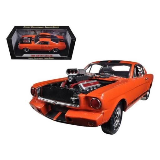 Shelby Collectibles SC514 1965 Ford Shelby Mustang GT350R with Racing Engine Orange & Black Stripes 1-18 Diecast Car Model