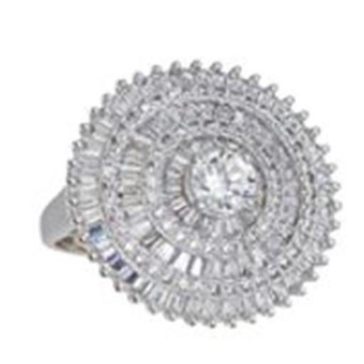 YGI SLR395-7 Sterling Silver Round Baguette Cocktail Ring, Size 7