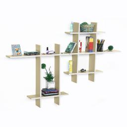 Brief & Elegance-MEGA Leather Cross Type Shelf / Floating Shelf (9 pcs)
