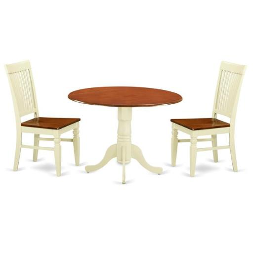 East West Furniture DLWE3-BMK-W Kitchen Table Set with a Dining Table & 2 Wood Seat Dining Chairs, 3 piece - Buttermilk & Cherry