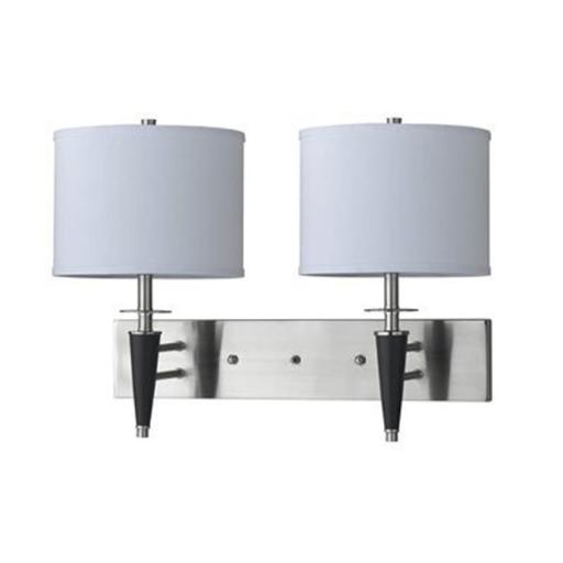 Cal Lighting LA-8002W2L-1BS 60 W x 2 Wall Lamp With 3W Push Switch, Brushed Steel Finish