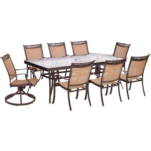 Hanover FNTDN9PCSWG-2 Fontana Dining Set with Sling Dining Chairs, Swivel Chairs & Glass Dining Table - 9 piece