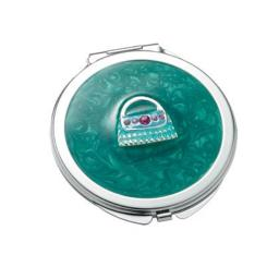 Aeropen International M-50 Green Round Iron Compact Mirror With Purse Ornament And Epoxy Top