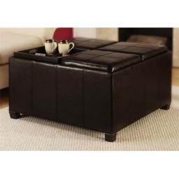Convenience Concepts 143033 Times Square Ottoman w 4 Tray Tops in Espresso