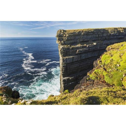 Cliff Face Rock Formation in Ocean with Waves Blue Sky & Clouds - Kilkee County Clare Ireland Poster Print - 38 x 24 in. - Large