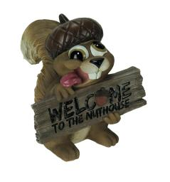 Welcome to the Nuthouse Silly Squirrel Indoor Outdoor Statue