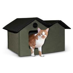 K&H Pet Products 3971 Olive / Black K&H Pet Products Unheated Outdoor Kitty House Extra Wide Olive / Black 21.5 X 26.