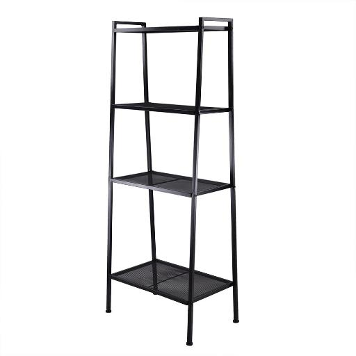 Yescom 4 Tier Metal Ladder Shelf Bookshelf Bookcase Leaning Storage Rack A Frame Corner Display Plant Vertical Black