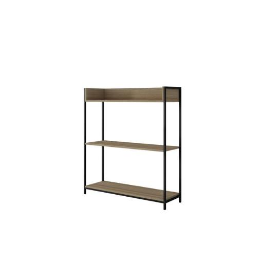 Manhattan Comfort 117AMC152 Ellis 36.61 in. Bookcase 2 with 3 Shelves in Dark Oak & Black