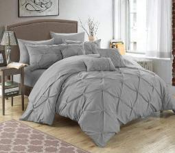Chic Home Hannah 10 Piece Comforter Set Silver KING