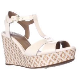 Clarks Amelia Roma Wedge T-Strap Sandals, Nude Pink Amelia Roma