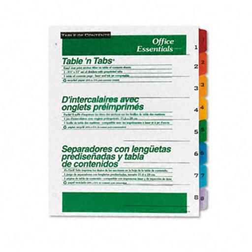 Avery 11669 Office Essentials Table N Tabs Dividers Eight Multicolor Tabs 1-8 Letter