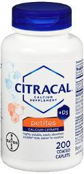 Citracal Calcium Citrate + D3 Petites Tablets - 200 Ct