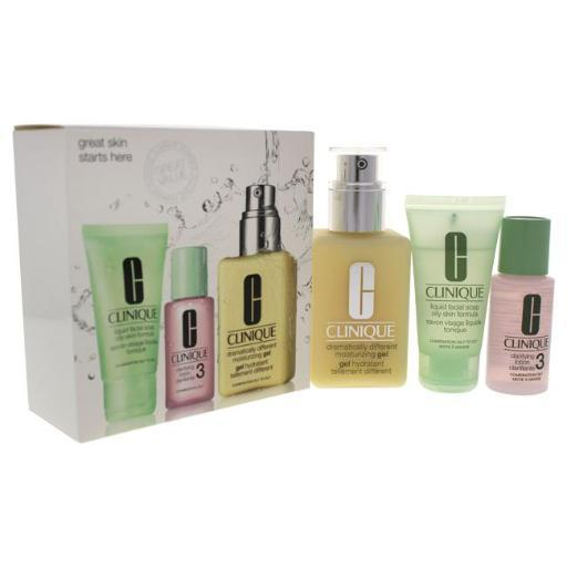 Clinique Great Skin 3-Step Skin Care System - Combination Oily Skin 1Oz Liquid Facial Soap Oily Skin, 1Oz Clarifying Lot