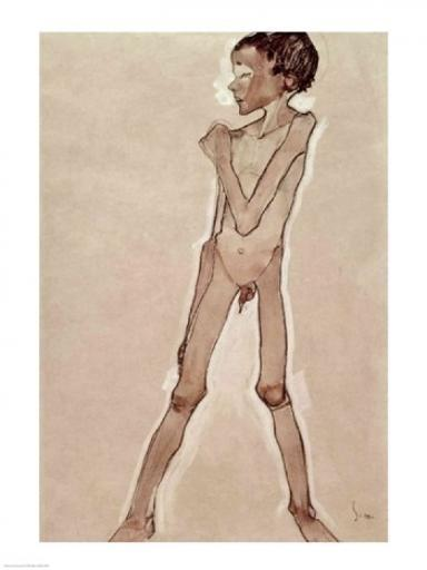 Nude Boy Standing Poster Print by Egon Schiele 891245