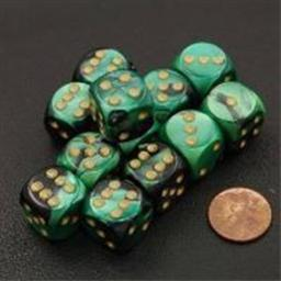 Chessex Manufacturing 26639 D6 Cube Gemini Set Of 12 Dice, 16 mm - Black & Green With Gold Numbering