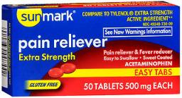 Sunmark Pain Reliever 500 mg Tablets Easy Tabs - 50 ct, Pack of 4