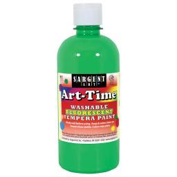 Washable Art-Time(R) Fluorescent Tempera Paint 10oz Green