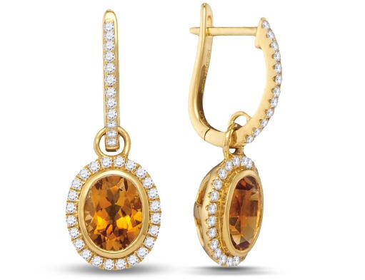 1.00 Carat (ctw) Natural Citrine Dangle Drop Earrings in 14K Yellow Gold with Diamonds