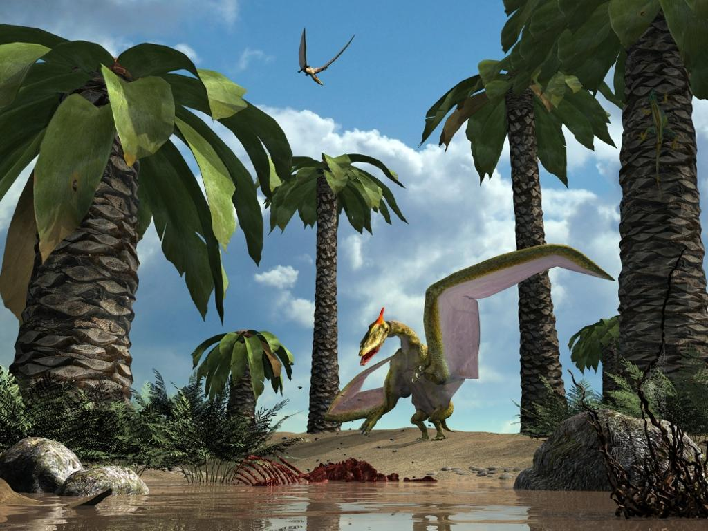 A pterosaur flying reptile lands next to some carrion Poster Print