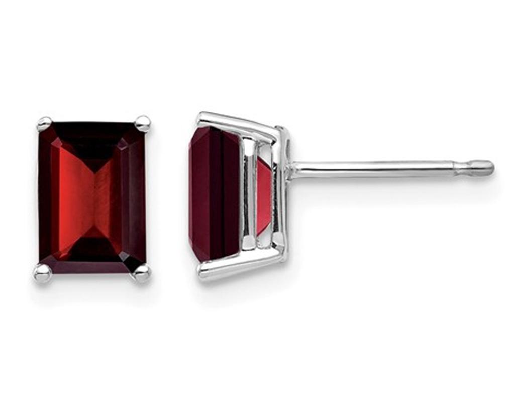 14K White Gold Emerald Cut Natural Solitaire Garnet Earrings 2.50 Carat (ctw)