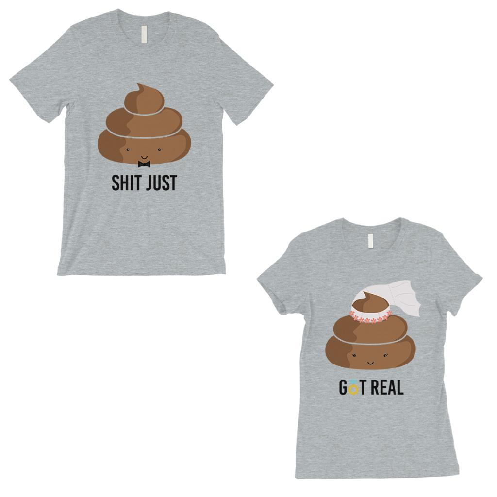 Poop Shit Got Real Matching Couple Gift Shirts Grey For Newlywed
