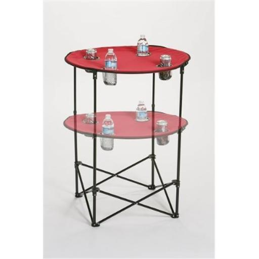 Picnic Plus PSM-104M Portable round tailgate table extends from 24 in. to 36 in. - MAROON