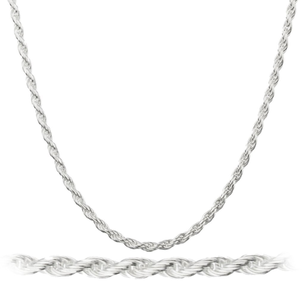 14K White Gold Filled 2MM Rope Chain 24""