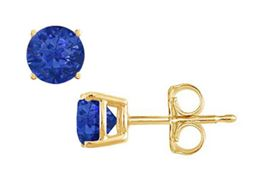 Yellow Gold Vermeil Prong Set Blue Created Sapphire Stud Earrings 1.00 CT TGW