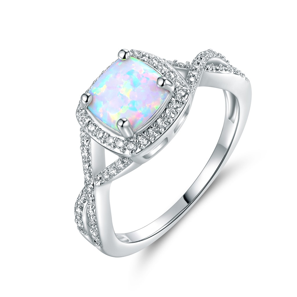 18K White Gold Plated White Fire Opal Ring - Size 5
