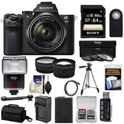 Sony Alpha A7 II Digital Camera & 28-70mm FE OSS Lens with 64GB Card + Flash + Case + Battery + Tripod + Tele/Wide Lens Kit