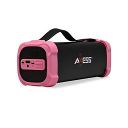 AXESS SPBT1073 Portable Indoor/Outdoor Bluetooth Media Speaker with Built-In 3.5mm Line-In Jack Rechargeable Battery and Subwoofer Pink