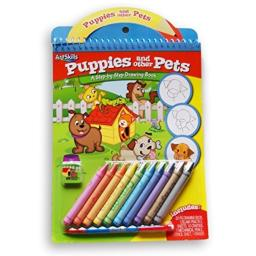 Puppies and Other Pets Themed Drawing and Coloring Pad with Crayons and More