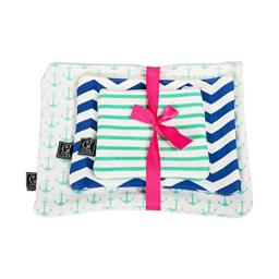 Nautical Anchors Set of 3 Aqua Blue White 12 x 5 Inch Cotton Patterned Zippered Pouches Set
