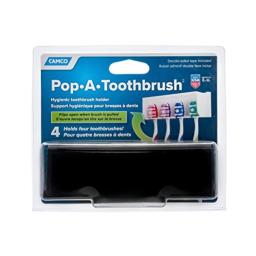Camco A Pop-A-Toothbrush Wall Mounted Holder With Germ Protecting Cover, Perfect For Traveling, Dorm Bathrooms and More, Holds 4 Toothbrushes- (Black) (57207)