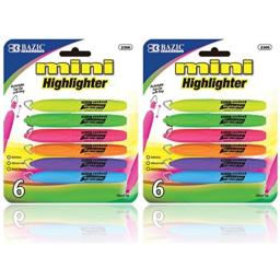 Bazic - Mini Highlighter with Cap Clip, 6 Different Colors (2-Pack of 6)
