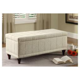 Fabric Lift-Up Storage Bench With a Tufted Seat, Cream